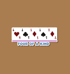 Paper sticker on stylish background poker four vector