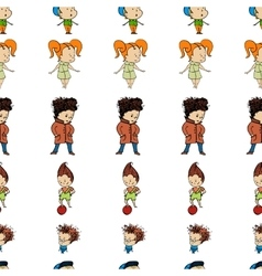 Pattern a group of children in line vector
