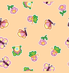 pattern beautiful butterfly and flowering wild vector image