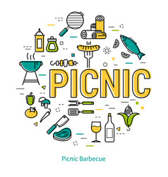 Picnic barbecue - round linear concept vector