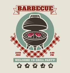 Retro barbecue party restaurant invitation vector