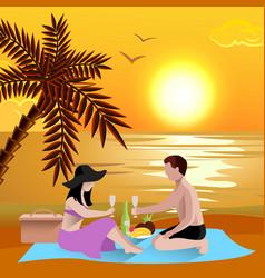Romantic beach date background vector