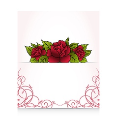romantic letter with bouquet roses vector image
