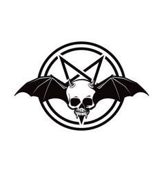 Scary halloween demon skull icon vector