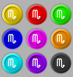 Scorpio icon sign symbol on nine round colourful vector image