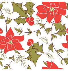 Seamless christmas poinsettia floral pattern vector