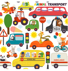 Seamless pattern transports with animals vector