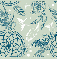 Seamless pattern with dream catcher vector