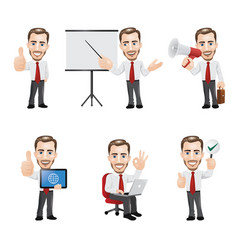 set businessman character in 6 different poses vector image