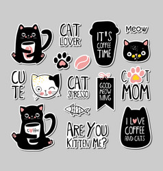 Set cats badges patches stickers vector