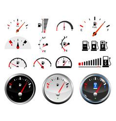set fuel gauge scales or fuel indicator tank vector image