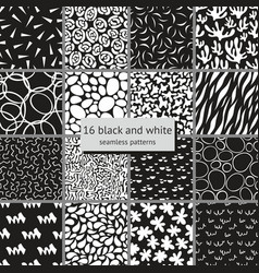 Set of black and white seamless patterns vector