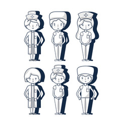 set professional doctors and nurses vector image
