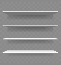 shelf white wood empty 3d bookshelf vector image