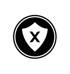 shield and cross round glyph icon user interface vector image