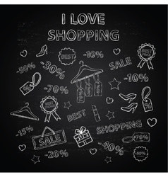 Shopping set with thematic elements on a Chalk vector image