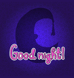 silhouette of half moon in night hat good night vector image