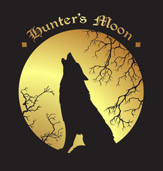 Silhouette of wolf howling at the full moon vector