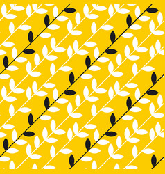 simple yellow leaves branch seamless pattern vector image