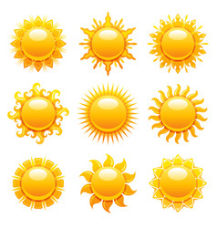 Sun icons summer sunshine vector