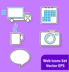 The set of outline icons with white background for vector