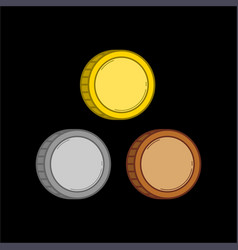 three color coins vector image
