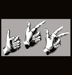 Three hands that count one two three vector