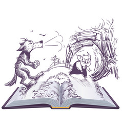 Three pigs fairy tale open book wolf vector