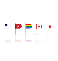 toothpick flags countries national banners set vector image