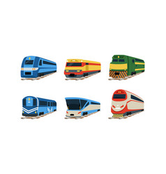 train locomotives collection railway carriages vector image