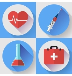 Trendy medical icons with shadow Flat design vector image