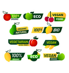 vegan labels green eco food healthy fresh vector image