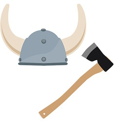Viking hat and axe vector image