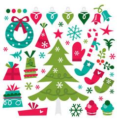 Whimsical retro christmas design elements vector