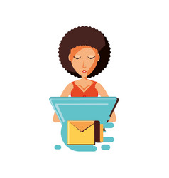 woman with laptop and envelope mail vector image