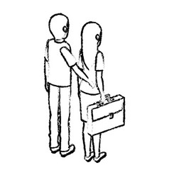 Young couple avatars characters isometric vector