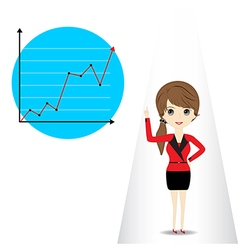 Young woman presenting business graph vector