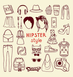 funky hipster style elements of female different vector image