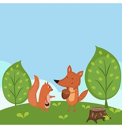 Summer forest background vector image