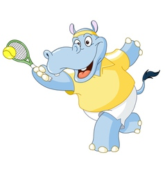 tennis hippo vector image vector image