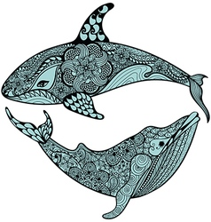 Zentangle stylized Blue Sea Shark and Whale Hand vector image vector image