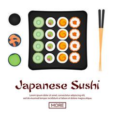 banner sushi rolls set sushi time chopsticks vector image