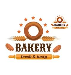 Brown and orange bakery emblem vector image