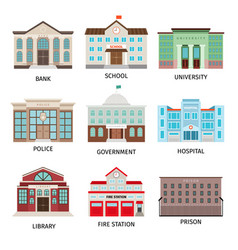 government building colored icons vector image