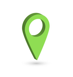green 3d map pointer with dropped shadow on white vector image