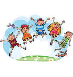 jumping children vector image vector image