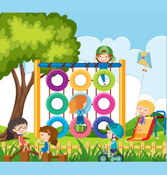 many children playing in the playground vector image vector image