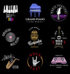 Music festival badge logo lettering made recording vector
