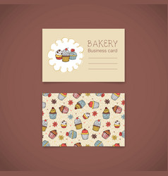 bakery business card with capcakes vector image