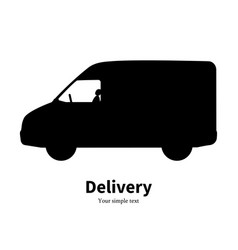 black silhouette of a truck delivery vector image